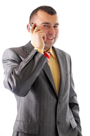 Portrait of a young busineass man speaking on the phone