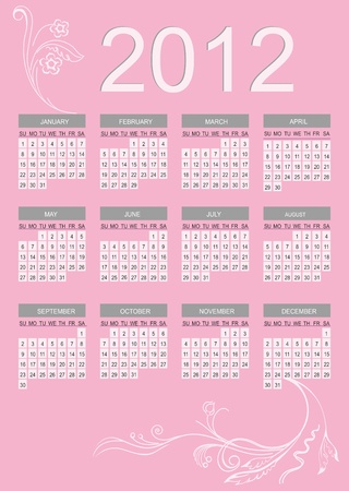 2012 calendar with pink background Stock Vector - 11576355
