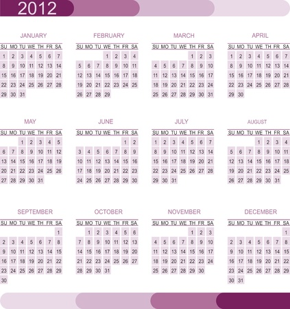 2012 calendar grid Stock Vector - 11576354