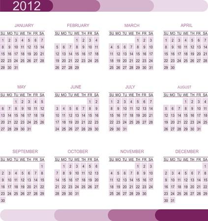 mon 12: 2012 calendar grid
