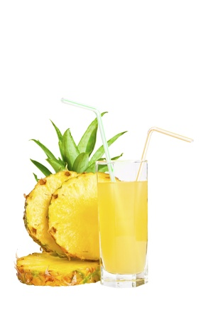 pineapple  glass: Fresh pineapple juice with sliced pineapple isolated on white background Stock Photo