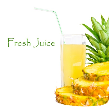 Background of fresh juice and sliced pineapple Stock Photo