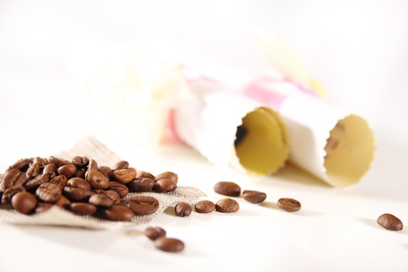 beautiful background with coffee and paper Stock Photo