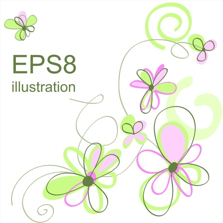 Vector cute flowers background. Good for your design. Illustration