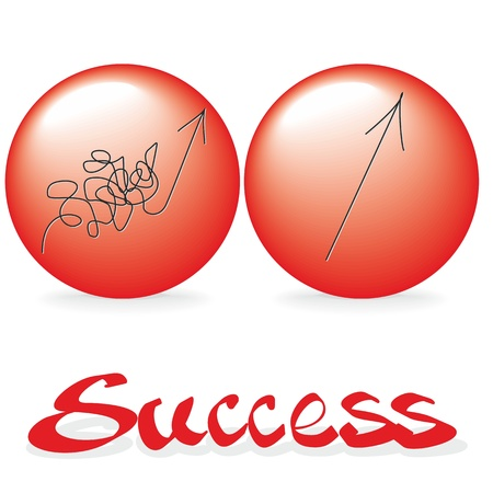 Two ways of success  Concept illustration with arrows  Vector