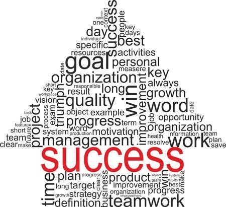 Las palabras de éxito relacionados con el concepto de nube de etiquetas aisladas sobre blanco con flecha términos de asociación diferentes