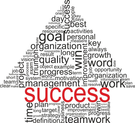 Succes begrip verwante woorden in Tag-wolk op een witte pijl met verschillende vereniging termen