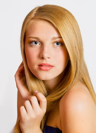 Close-up portrait of sexy caucasian young woman with beautiful healthy hair Stock Photo