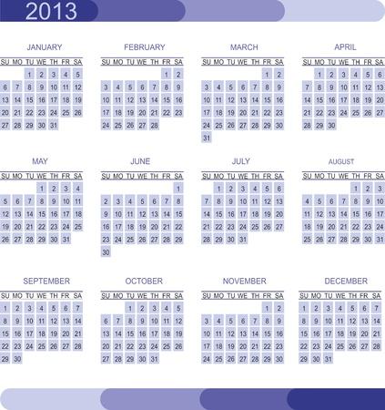 2013 calendar grid Stock Vector - 14802649