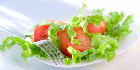 Panorama of fresh tomatoes salad Stock Photo