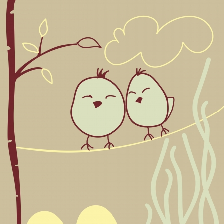 greeting card with lovely sleeping birds