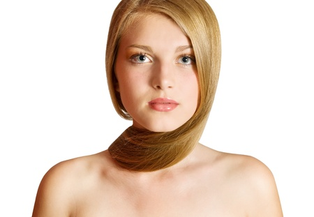 flaxen: Beautiful Blond Girl. Blonde Hair. Stock Photo