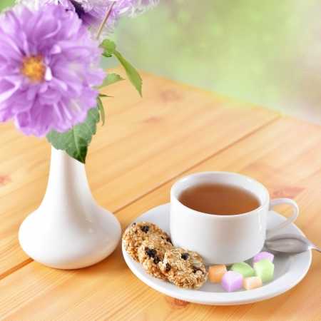 Breakfast still life. Cookies with cup of tea Stock Photo
