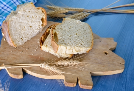 baked bread on wood table photo