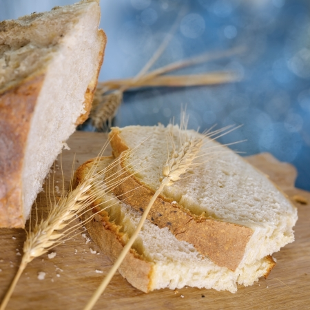 fresh white loaf of bread , rustic style Stock Photo