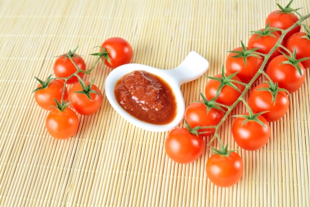 background of ketchup and tomatoes