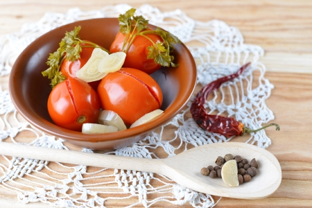 Homemade tomatoes preserves. Canned tomatoes. Stock Photo