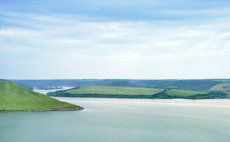 Beautiful river landscape and hills Stock Photo