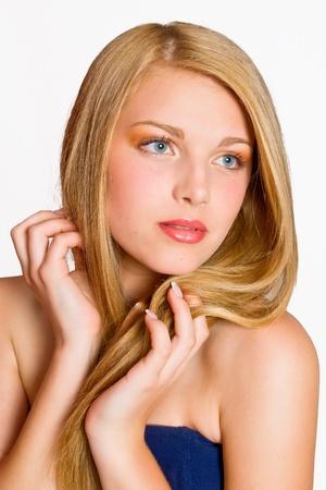Portrait of a beautiful female model on white background Stock Photo