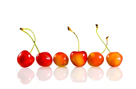 Six Sweet Cherry On White