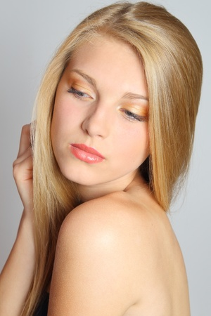 blond streaks: Beautiful Blond Girl. Blonde Hair. Face close up. Stock Photo