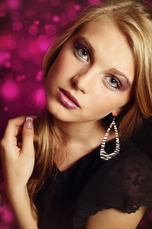 glamour hair: Beautiful Blond Girl. Blonde Hair. Glamour make up. Stock Photo