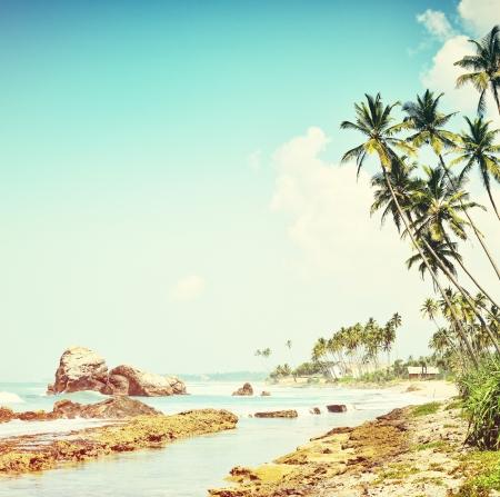 Vintage background. Retro tropical beach Stock Photo