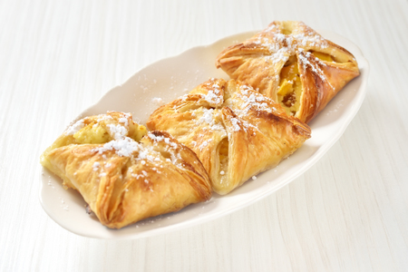 Puff pastry on the plate Stock Photo