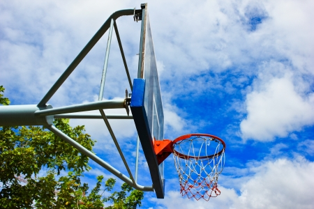 Outdoor basketball hoop photo