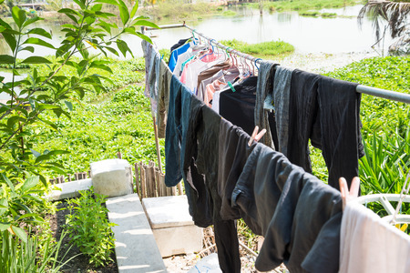 Clothes line in the garden photo