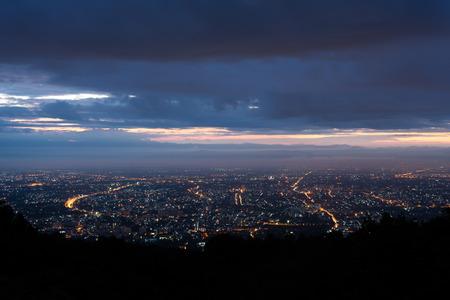 nightfall: Doi Suthep scenic point at Chiang mai in Thailand
