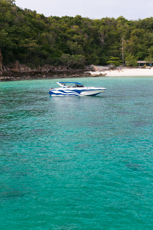 sark: Speedboat in front of Sark Islands, Pattaya Stock Photo