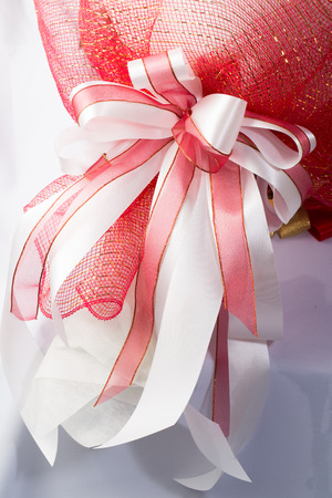 ribbin: Pink white bouquet with ribbin Stock Photo