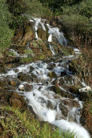 immobile: Blanco, espumoso y de agua que fluye a trav�s de las rocas en un entorno verde