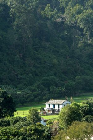splendour: Lone dwelling house surrounded by abundant natural beauty
