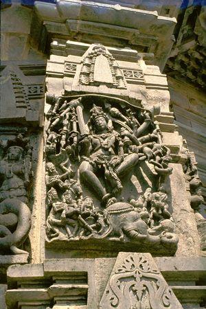 mahishasura: Hindu Goddess Durga (Mahishasura Mardhini) set to demolish buffalo demon, Channakeshava Temple, Belur, Karnataka, India, Asia