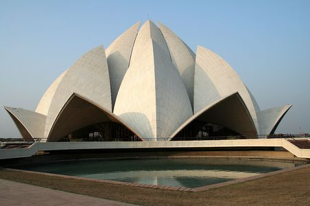 the house of worship: Lotus Temple, Bahai House of Worship, situated in Delhi, India, Asia