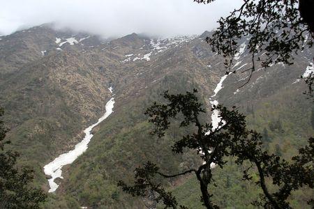 solidify: Cool breeze freezes Himalayan mountain streams near Yamunothri, Uttarakhand, India, Asia