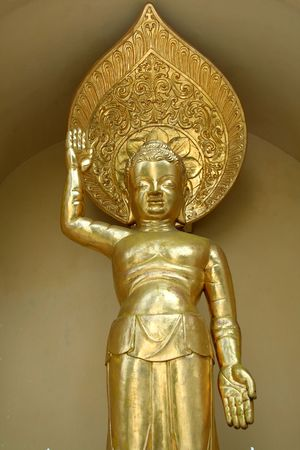 west bengal: Golden icon on exterior of Buddhist shrine in Darjeeling, West Bengal, India, Asia Stock Photo