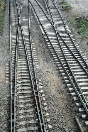 Track changing maze of pairs of railway tracks photo