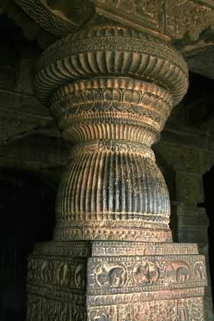 Intricate carving of stone pillar in first cave at Badami, Karnataka, India, Asia Stock Photo - 5884057