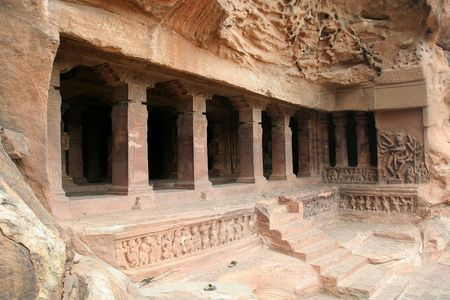 Monolithic first cave temple, dedicated to Lord Shiva, at Badami in Karnataka, India, Asia