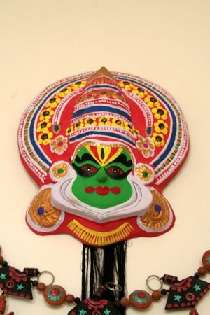 dramatic characters: Colourful mask of character in Kathakkali folk drama of Kerala, India, Asia Stock Photo
