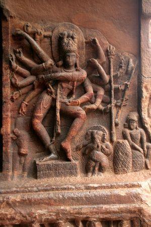 nataraja: Nataraja (Dancing Shiva) at the entrance of Cave I at Badami, Karnataka, India, Asia