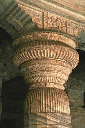 Upper portion of stone pillar in cave temple at Badami, Karnataka, India, Asia Stock Photo - 6152360