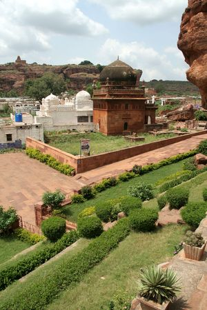 Masjid with garden in foreground and temple on distant hill at Badami, Karnataka, India, Asia Stock Photo - 6725620