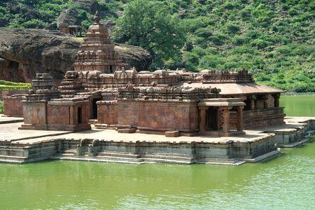 temple mount: Historical Bhuthanatha Group of Temples on eastern end of Agastya Teertha Lake, Badami, Karnataka, India, Asia