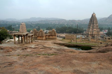 View of temples and towers from Hemakoota hill, Hampi, Karnataka, India, Asia