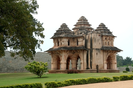 Renowned Lotus Mahal near Queens Palace at Hampi, Karnataka, India, Asia Stock Photo