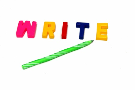ballpen: Concept of Write with alphabet blocks and a ballpen Stock Photo